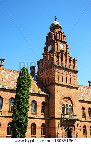 CHERNIVTSI UKRAINE - MAY 31 2015: Residence of Bukovinian and Dalmatian Metropolitans now part of Chernivtsi University. It was built in 1864-1882 by project of Czech architect Josef Hlavka