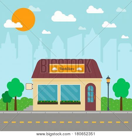 Bookstore building on city background. EPS10 vector illustration in flat style.