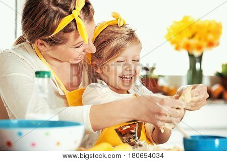 Mum And Daughter Baking Cakes
