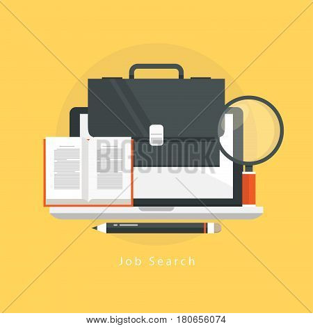 Online job search, online job, freelance work flat vector illustration design. Online career opportunities and professional orientation, trainings and courses design for mobile and web graphics