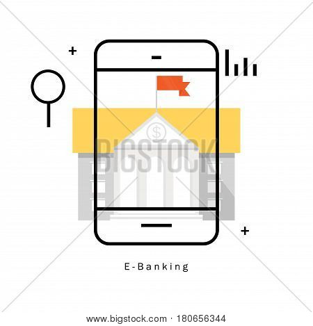 E-Banking, financial management flat line vector illustration design. Internet banking transaction, online banking, m-banking design for mobile and web graphics