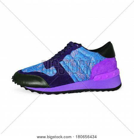 blue female sneaker isolated on white background
