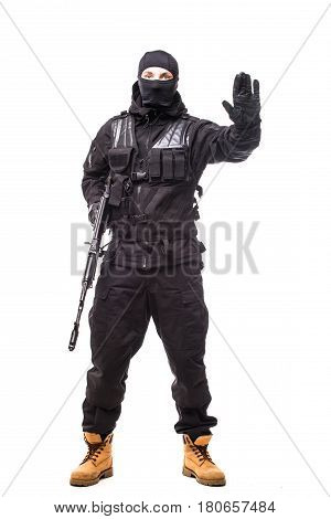 Army Soldier Man Portrait With Stop Sign On Studio Isolated On White Background