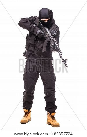 Army Soldier Man Portrait Aim Down On Studio Isolated On White Background