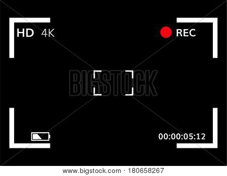 Viewfinder focusing screen vector illustration Video recording screen