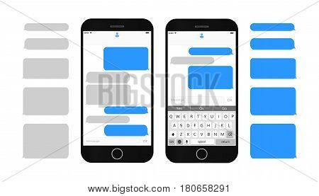 Text message boxes on smartphone screen Empty text bubbles set Dialog bubles Messaging interface with qwerty keyboard and realistic  modern mobile phone