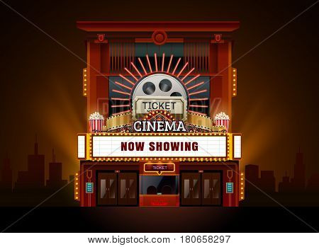 theater cinema building vector easy to change color and object