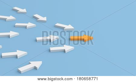 Leadership concept orange leader arrow standing out from the crowd of white arrows on blue background. 3D rendering.