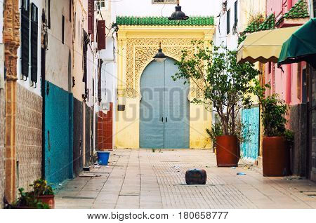Rabat, Morocco. Empty streets of old town Rabat medina, Morocco. It is an administrative city but very popular among tourists with famous historical architecture