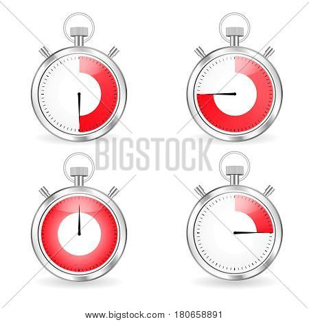 Digital timers set Stopwatch collection timers with arrow and red time bar
