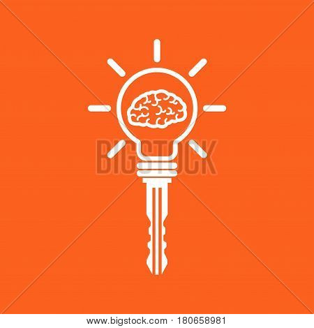 Key of idea. Creative brain sign with key symbol. Key of success. Business and education idea concept. Vector illustration.