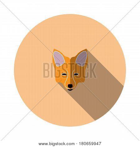 Vector image of cartoon fox face on round base