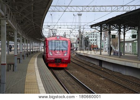 MOSCOW, RUSSIA - APRIL 15, 2015: Aeroexpress arrives to the platform of the Belarusian station