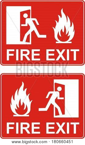 Red exit sign. Emergency fire exit door and exit door. Label with human figure and flame. Vector illustration