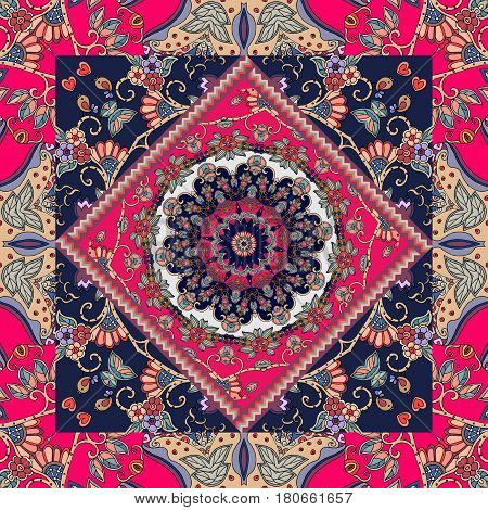 Ethnic bandana print or lovely tablecloth. Vector illustration in russian style.