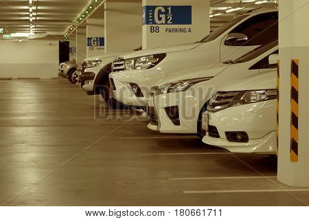 March 8 2017: Car Park in Underground Parking Lot at Department Store Soft Focus