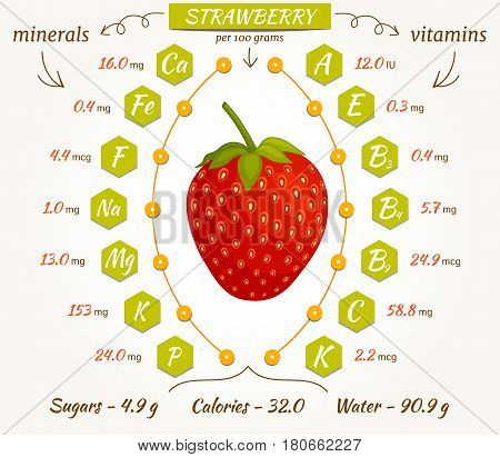 The content of minerals and vitamins in strawberry. Vector illustration. Strawberry infographics nutrition facts calories and analysis.