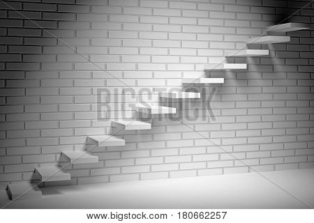 progress, success and hope creative concept - Ascending stairs of rising staircase in dark empty room with white brick wall with spot light 3d illustration