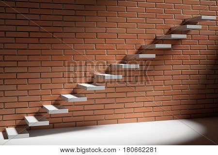 Business rise forward achievement progress way success and hope creative concept - Ascending stairs of rising staircase in dark empty room with red bricks wall with light 3d illustration