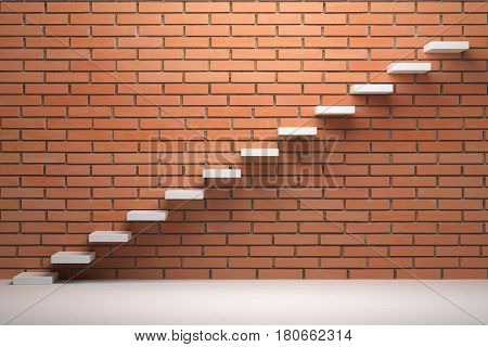 Business rise forward achievement progress way success and hope creative concept - Ascending stairs of rising staircase in empty room with red brick wall with light 3d illustration