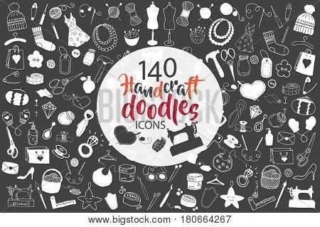 Big set of hand drawn handcraft doodles. Vector hand drawn illustration black and white.  Design elements for cards, flyers