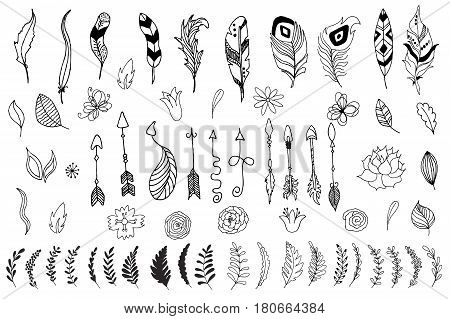 Set of arrows, flowers, leaves and feathers in native indian style. Vector hand drawn illustration isolated on white background. Boho, coloring book, design elements for cards, flyers