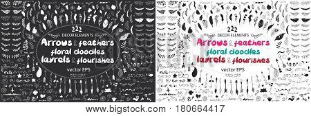 Big set of arrows, flowers, leaves and feathers in native indian style. Vector hand drawn illustration black and white. Boho, coloring book, design elements for cards, flyers