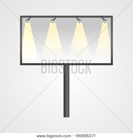 Free billboard Vector illustration Realistic free billboard with yellow electric lighting on a white background