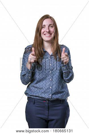 Pretty Business Woman Making Gun Gesture Over White Background