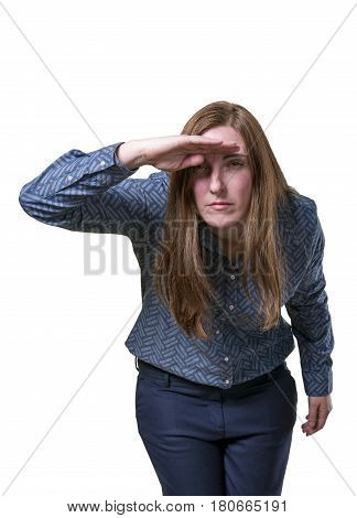 Pretty Business Woman Looking Something Over White Background