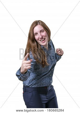 Pretty Business Woman Tell You Something Over White Background