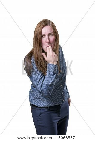 Pretty Business Woman Making Vomiting Gesture White Background