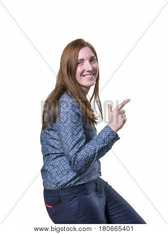 Pretty Business Woman Dancing Over White Background