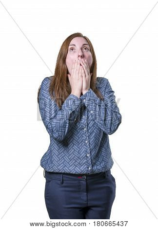 Pretty Business Woman Making Surprised Gesture Over White Background