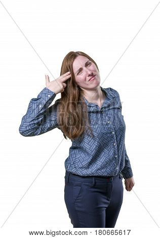 Pretty Business Woman Making Suicide Gesture Over White Background
