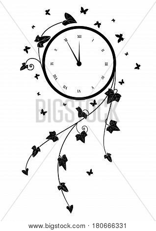 vector illustration with clock ivy and butterflies in black and white