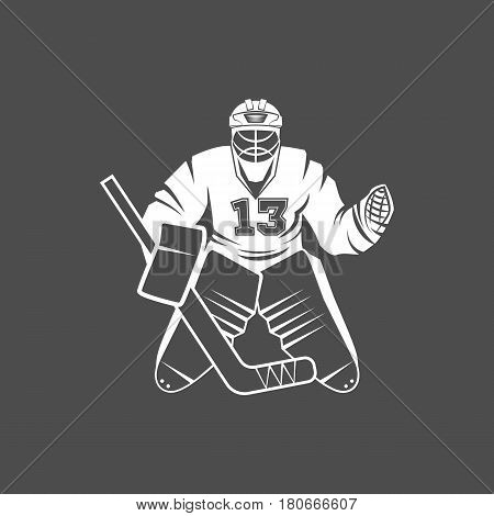 Set of Ice Hockey players. Winter sports. Retro logo design. Old school sport logo. Monochrome badges.