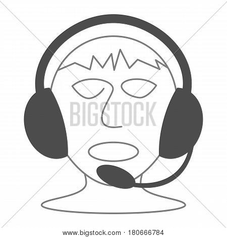 Icon of headset with microphone on mans head. Modern outline design. Isolated on white background.