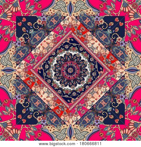 Lovely tablecloth. Russian patchwork pattern. Scarf carpet. Print for fabric.