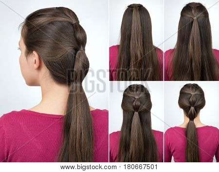 simple hairstyle pony tail with scrunchy tutorial. Hair tutorial step by step. Backstage technique of creating pony tail