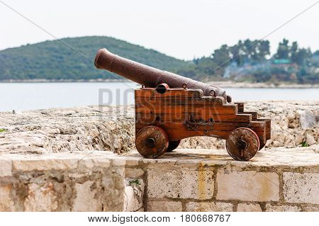 Old Venetian Cannon In The Old Town Of Korcula On The Island Of Korcula, Croatia