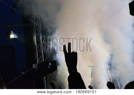 Youth on the concert of rock band.