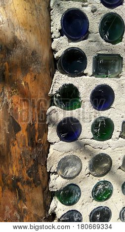 An interesting house built of glass bottles and cement