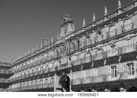 Salamanca (Castilla y Leon Spain): the historic Plaza Mayor the main square of the city. Black and white
