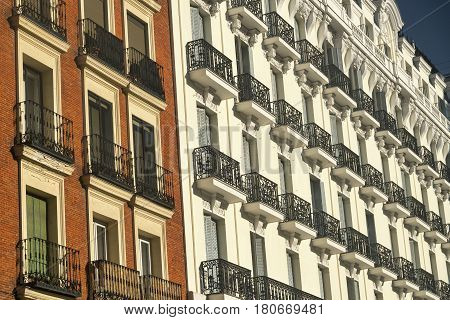Madrid (Spain): facade of residential buildings in front of the Park of Buen Retiro