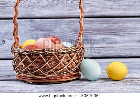 Wicker Easter basket with eggs. Colored eggs on gray wood.