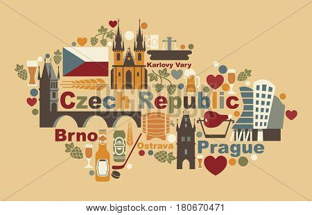 Traditional symbols of the Czech Republic in the form of a map