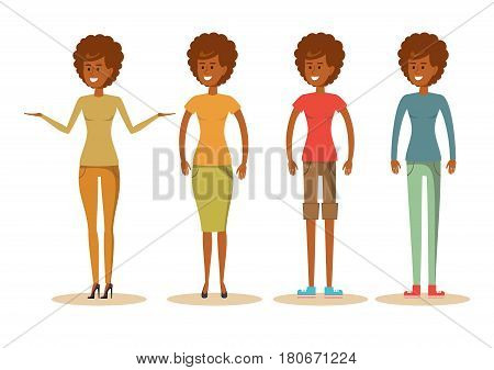 cute African American woman in casual clothes. Cartoon character illustration. Isolated on white background. Stock vector illustration