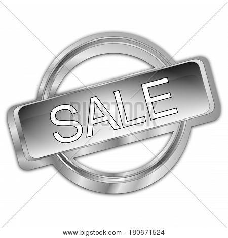 decorative silver Sale button - 3d illustration