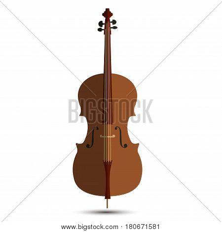 Cello wooden isolated on white background icon